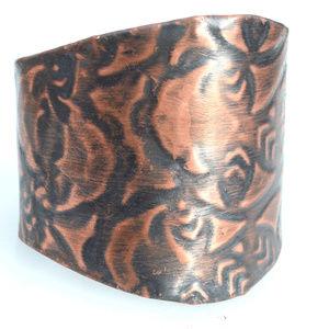 Batik Copper Solid Wide Cuff Bracelet Hippie Boho